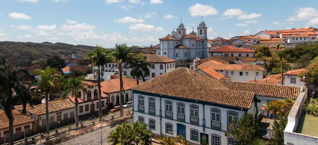 Os casarões e igrejas de Diamantina, Brasil.