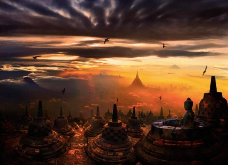 Templos na Indonésia, Ásia.