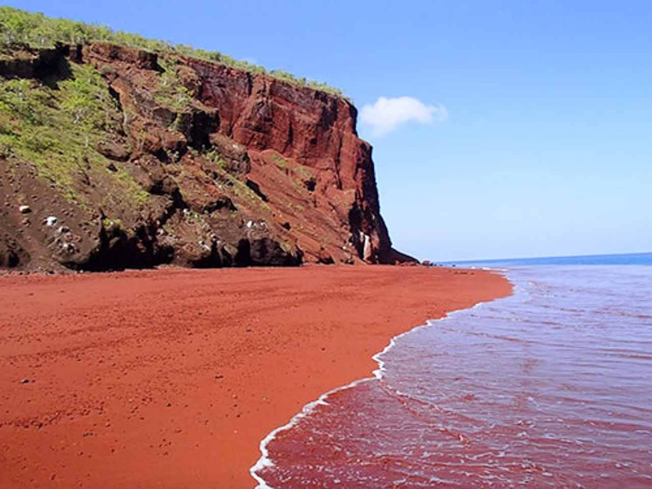 Red Sand Beach em Rabida, Galapagos.