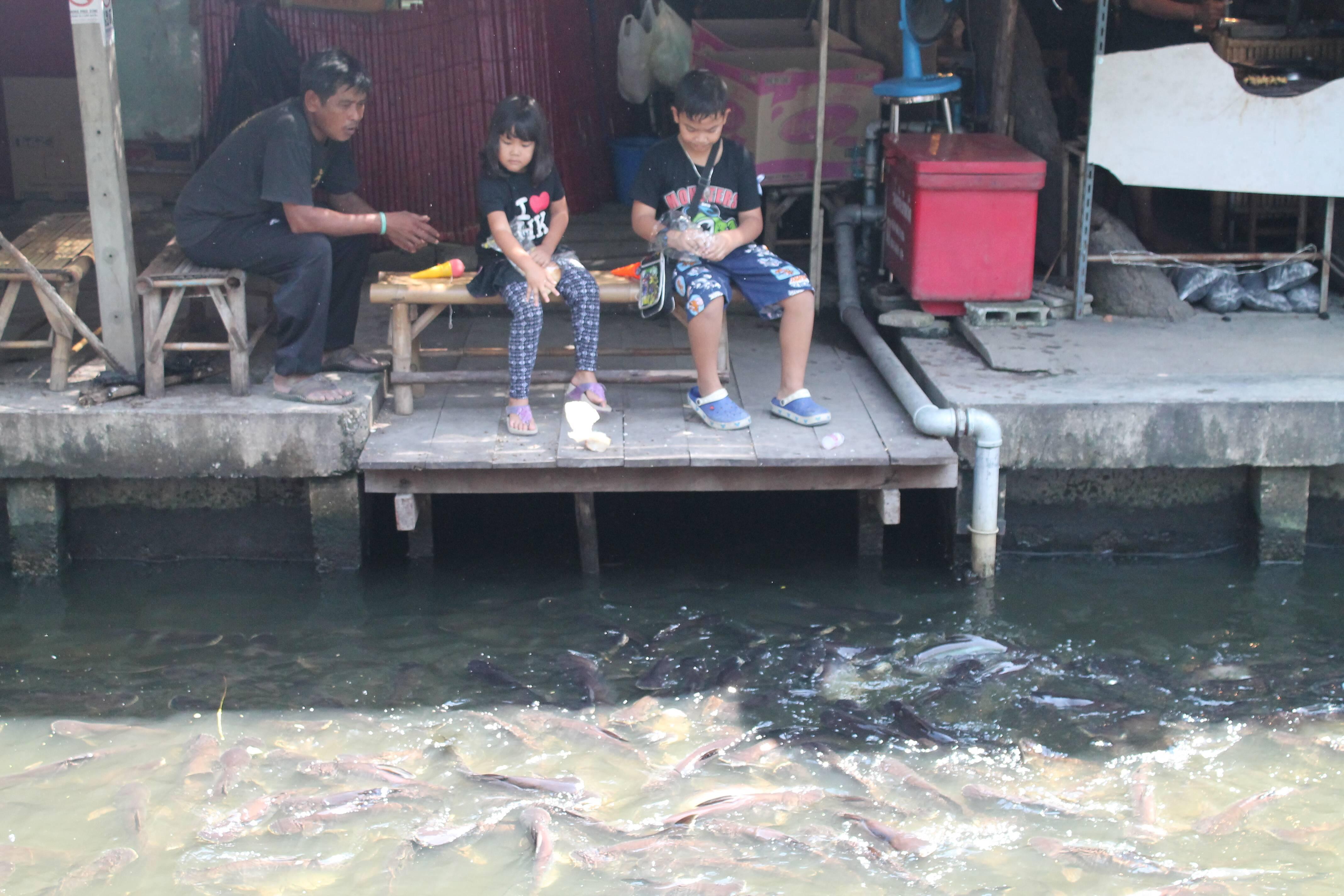 Crianças alimentando os peixes no canal do Taling Chan