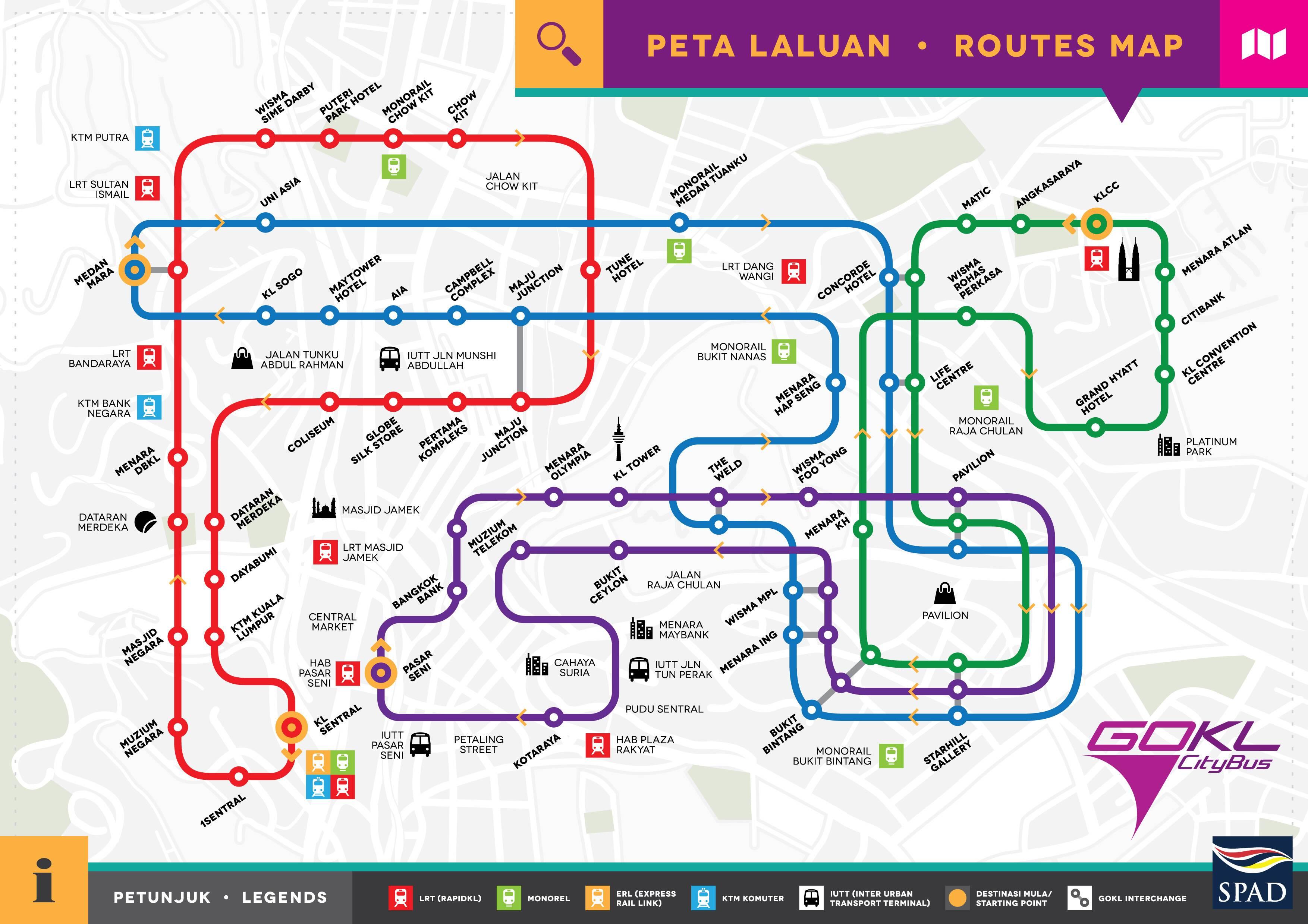 Mapa oficial do Go KL de Kuala Lumpur