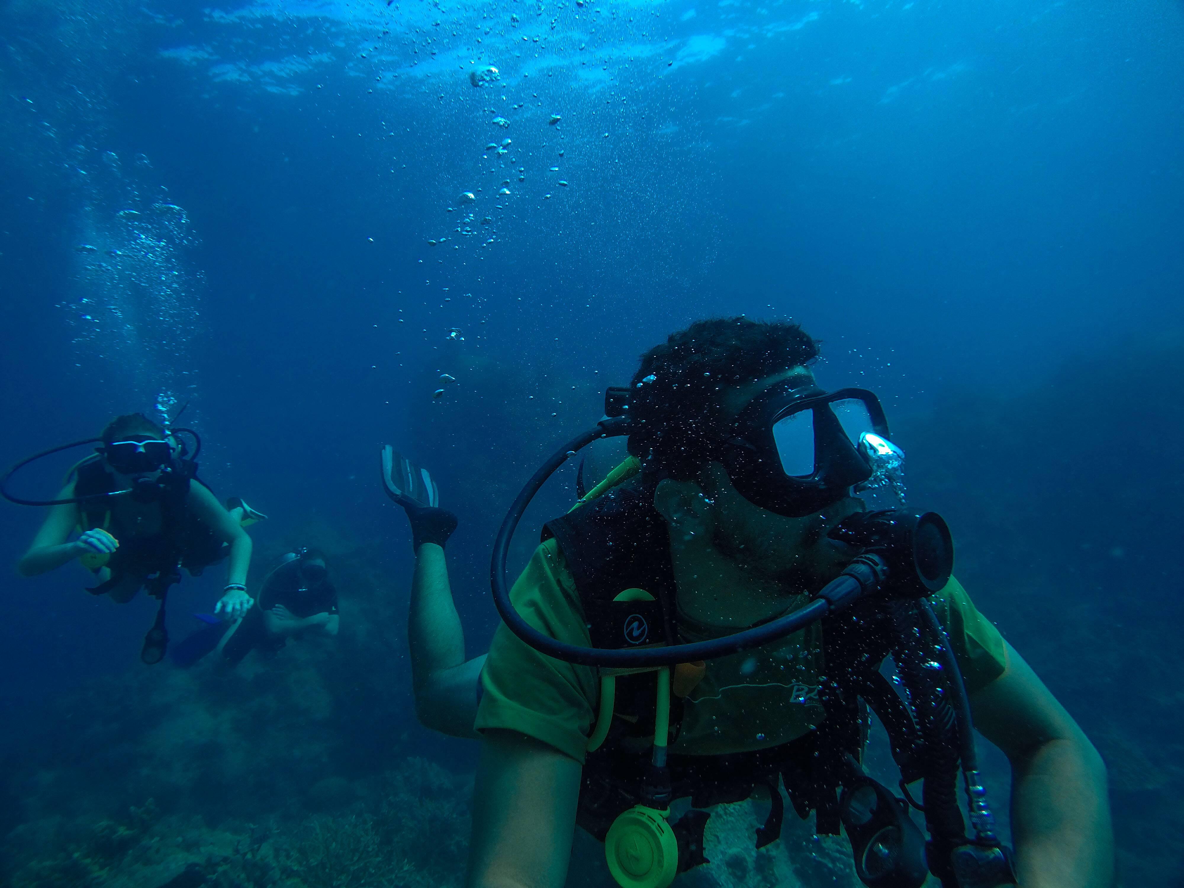 Koh Tao - Já como Divemaster, guiando a Victória e outras no mergulho em Koh Tao - Mergulho   Diving