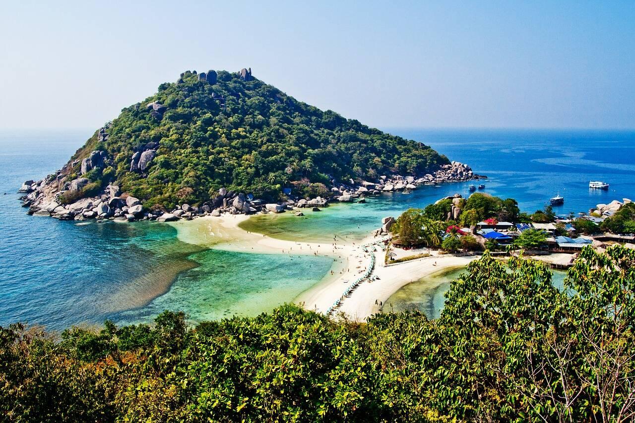 Koh Nang Yaun e a famosa faixa de areia. Koh Tao
