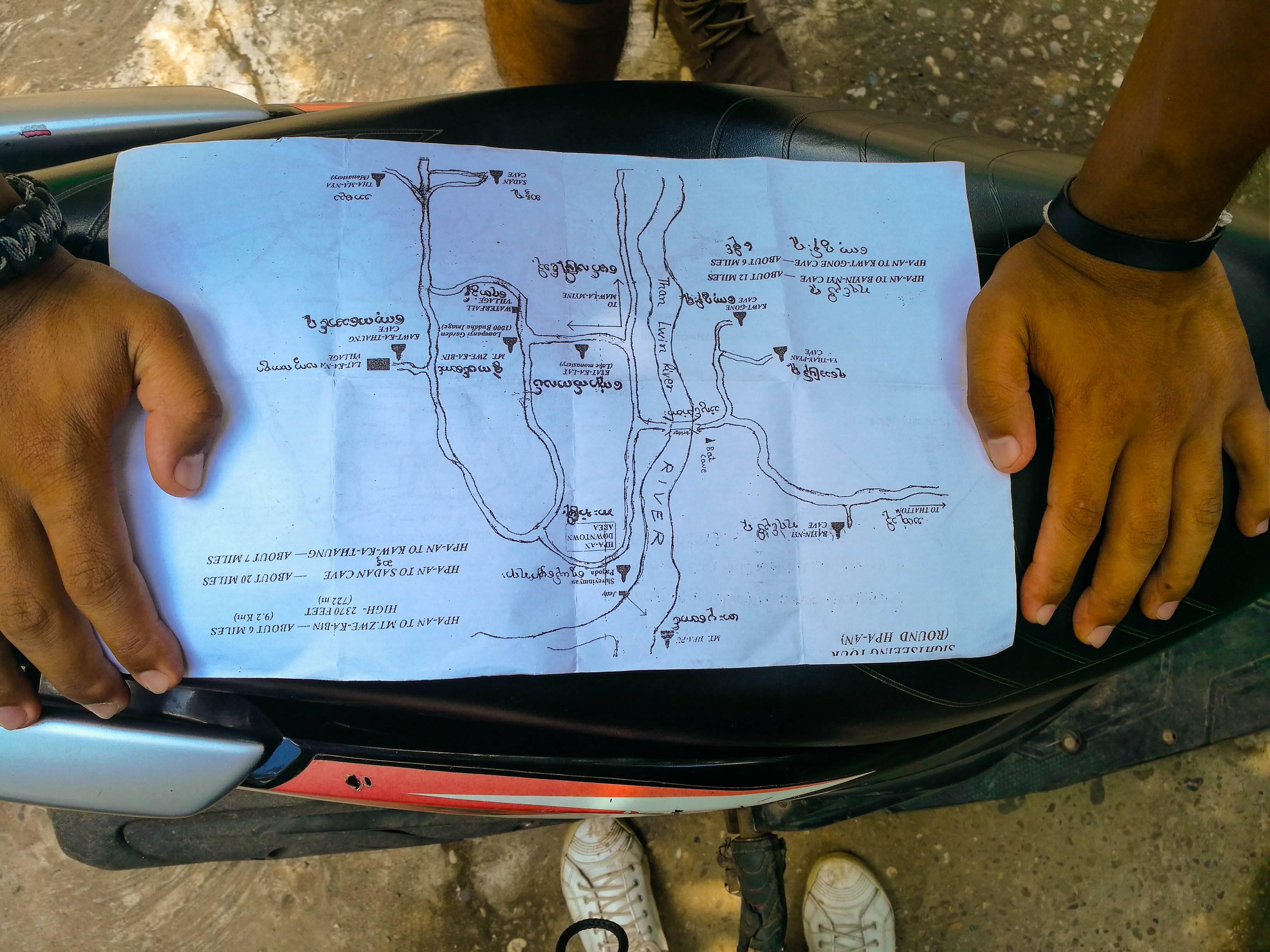 Nosso mapinha que seguimos para visitar as principais atrações dessa cidade incrível do Myanmar