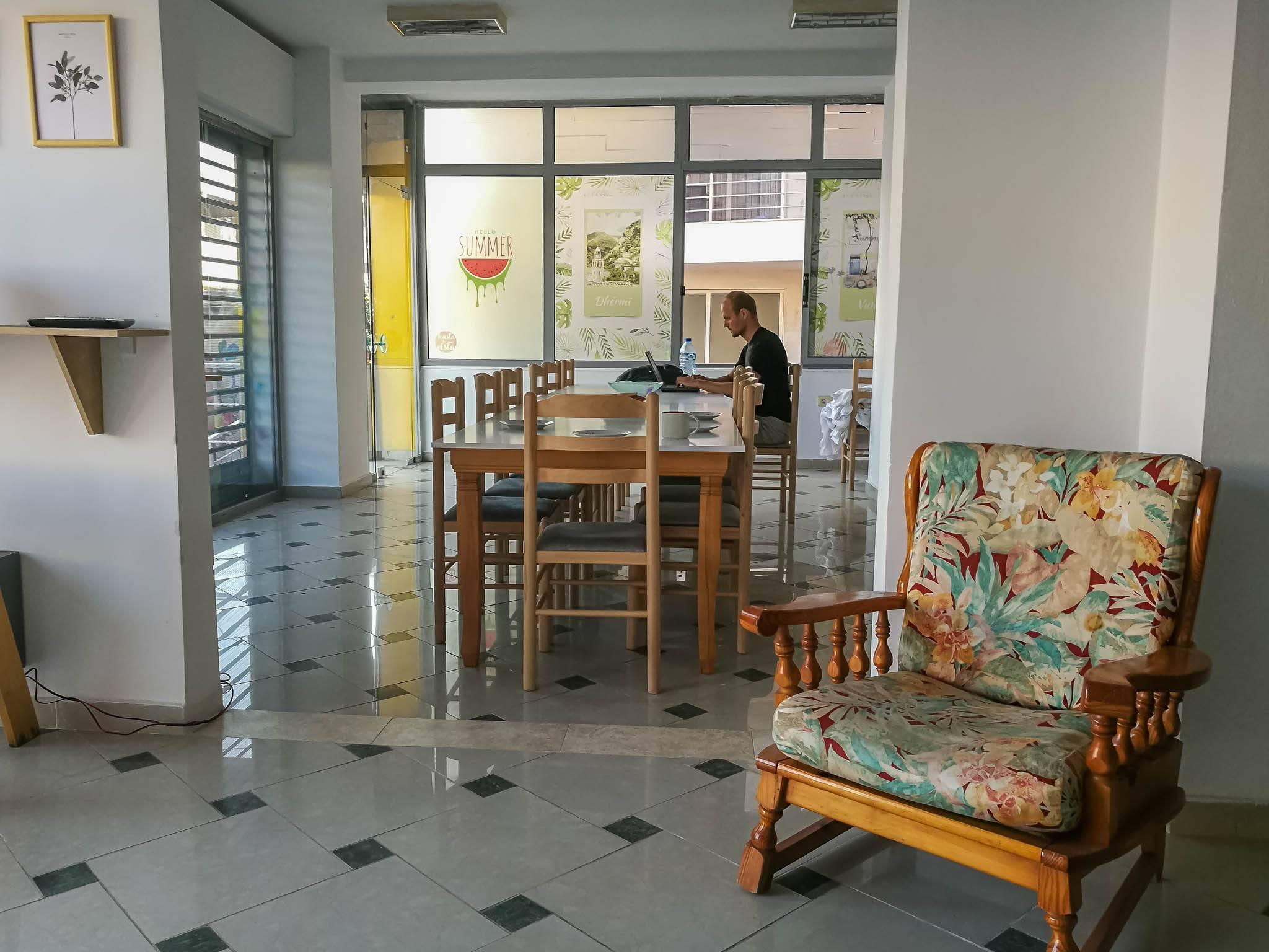 Área comum do hostel Hasta la Vista