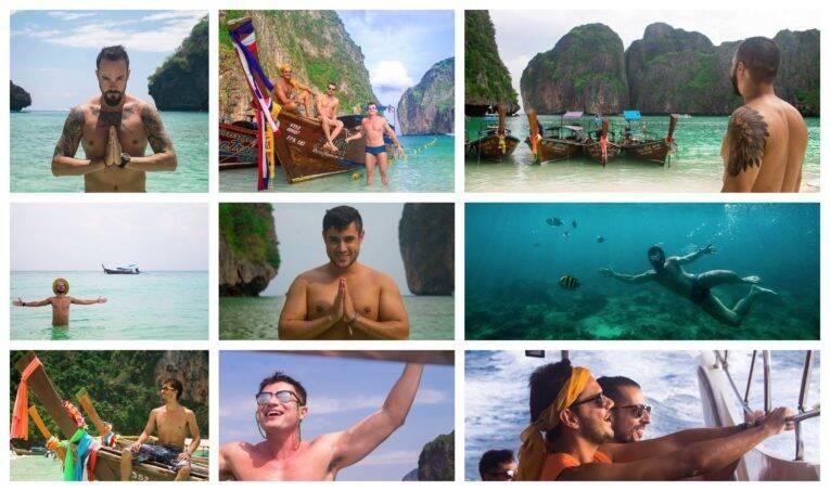 Fotógrafo, em Koh Phi Phi. Passeio de barco em Phi Phi