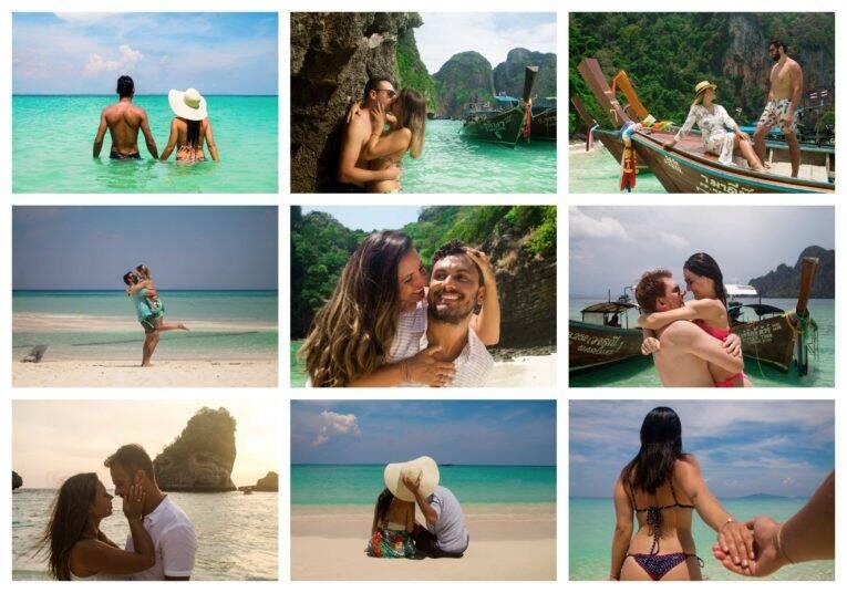 Fotos de casais durante o passeio de barco One Day Trip, em Koh Phi Phi - fotógrafo brasileiro na Tailândia