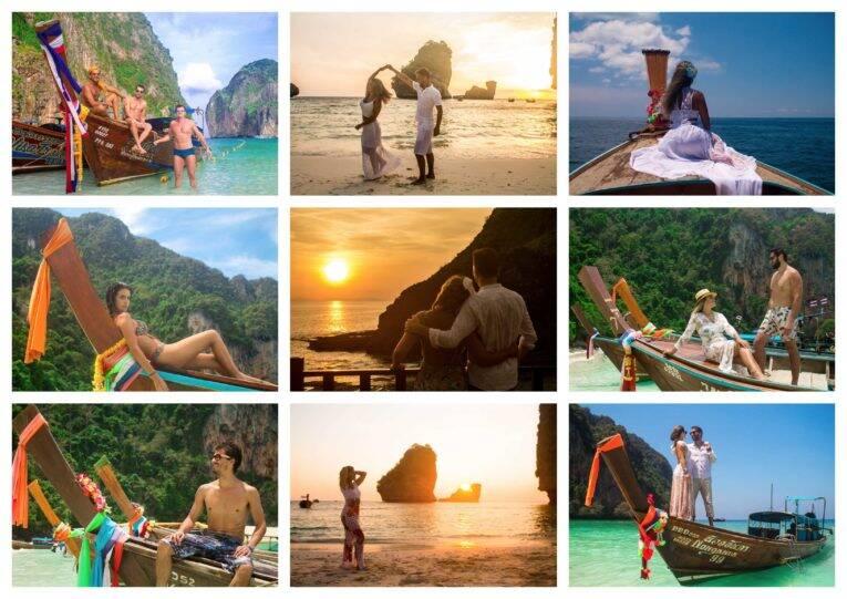 Fotos com o longtail e o pôr do sol nas ilhas Phi Phi - fotógrafo brasileiro na Tailândia