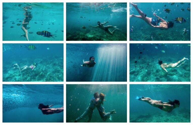 Fotos embaixo d'água com uma GoPro durante o snorkel/mergulho nas Ilhas Phi Phi - fotógrafo brasileiro na Tailândia