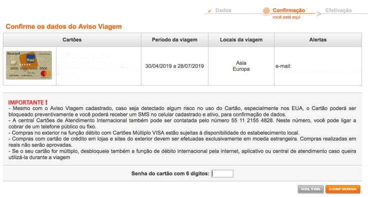 6. confirme os dados de cartão, período, destinos, e-mails e todas as informações presentes na tela.
