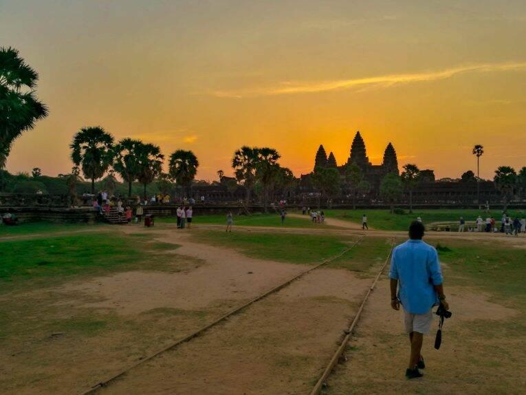 O pôr do sol em nosso roteiro em Siem Reap no Camboja foi maravilhoso mas, poderíamos ter perdido por alguns minutos!
