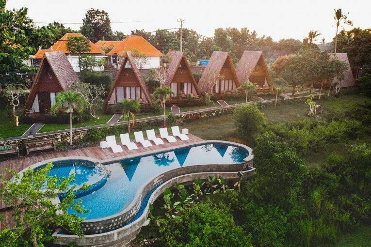 Área do Batan Sabo Cottage em Nusa Penida. Foto: divulgação/booking