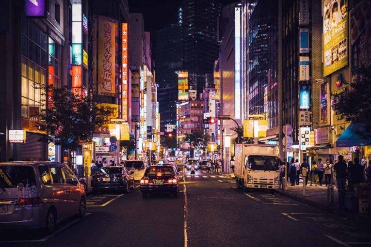 A região de Ginza e as noites de Tóquio