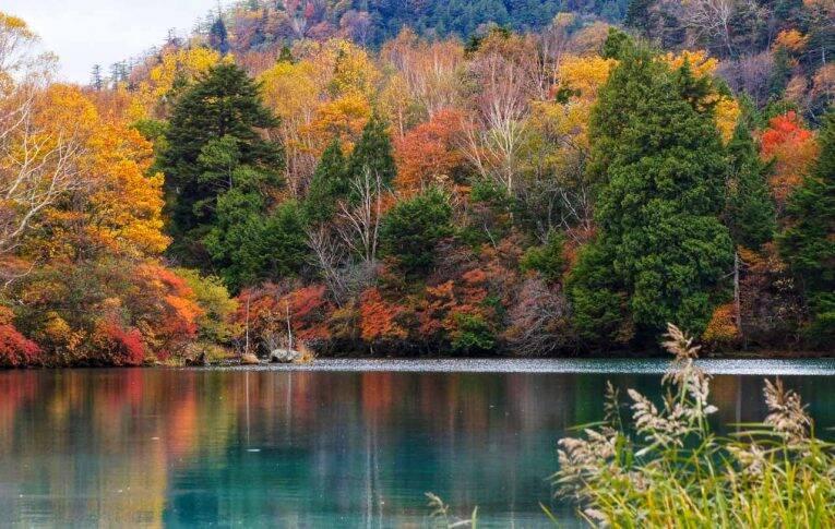 O Lago Chūzenji em Nikko, no Japão.
