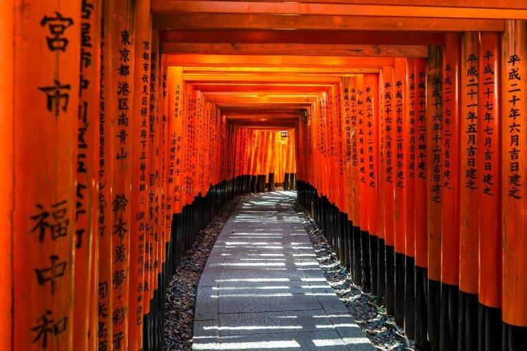 O santurário de Fushimi Inari Taisha, e o famoso corredor feito de torii.