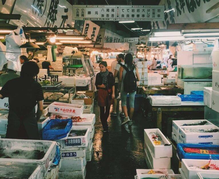 O famoso Tsujiki Fish Market em Tóquio