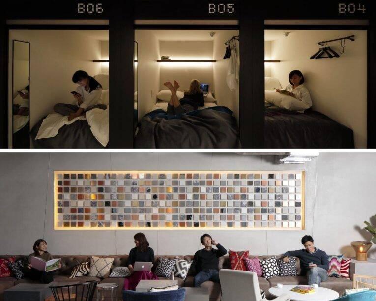 Capsulas e área comum do The Millennials Shibuya, em Tóquio.
