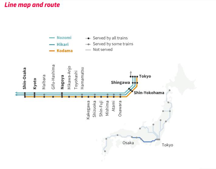 Mapa do trem Shinkansen no Japão