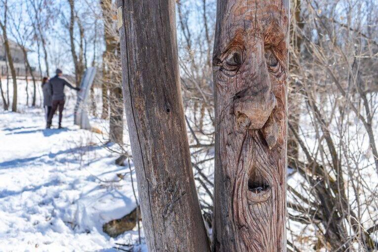 Os rostos nas árvores da trilha Boet-des-spirits. Winnipeg