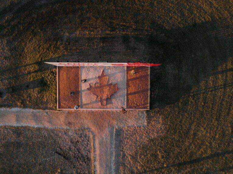 Centro do Canadá visto de cima (Centre of Canada). Winnipeg, Manitoba