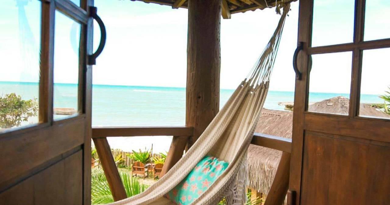 Vista do quarto na pousada Flor do Mar em Caraíva