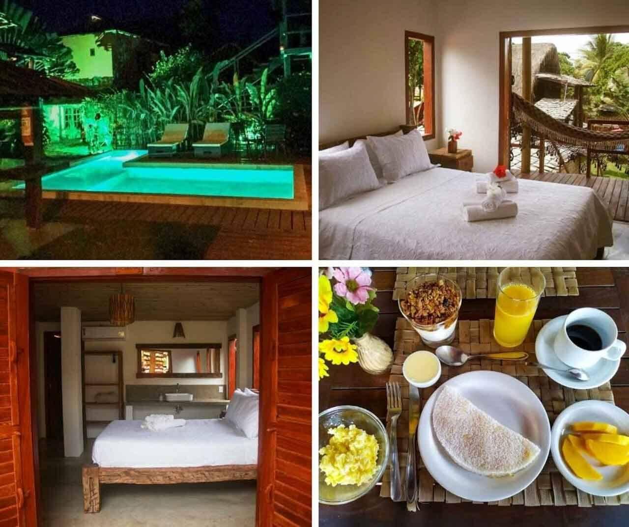La Villa é uma pousada barata e perto da praia em Caraíva.