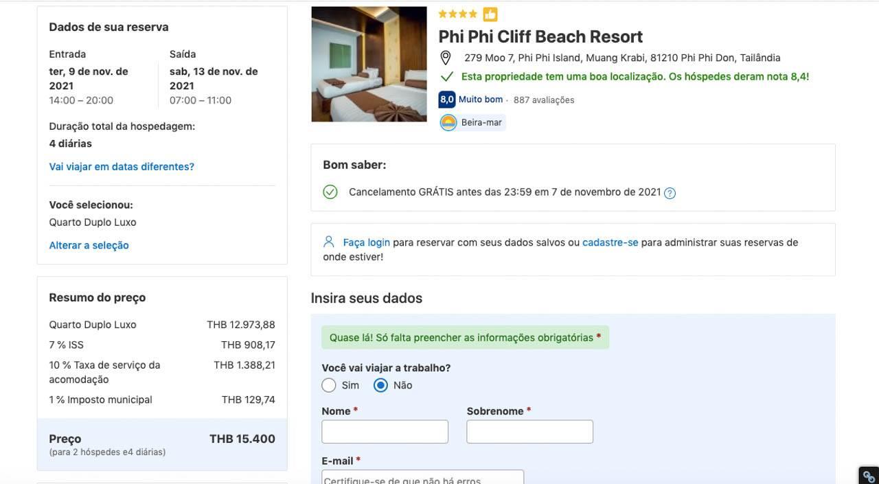 Resumo da reserva de hotel em Phi Phi na Tailândia. Dicas de Como reservar pelo Booking