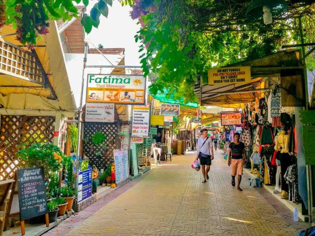Centrinho de Phi Phi Don e suas lojas - Tailândia