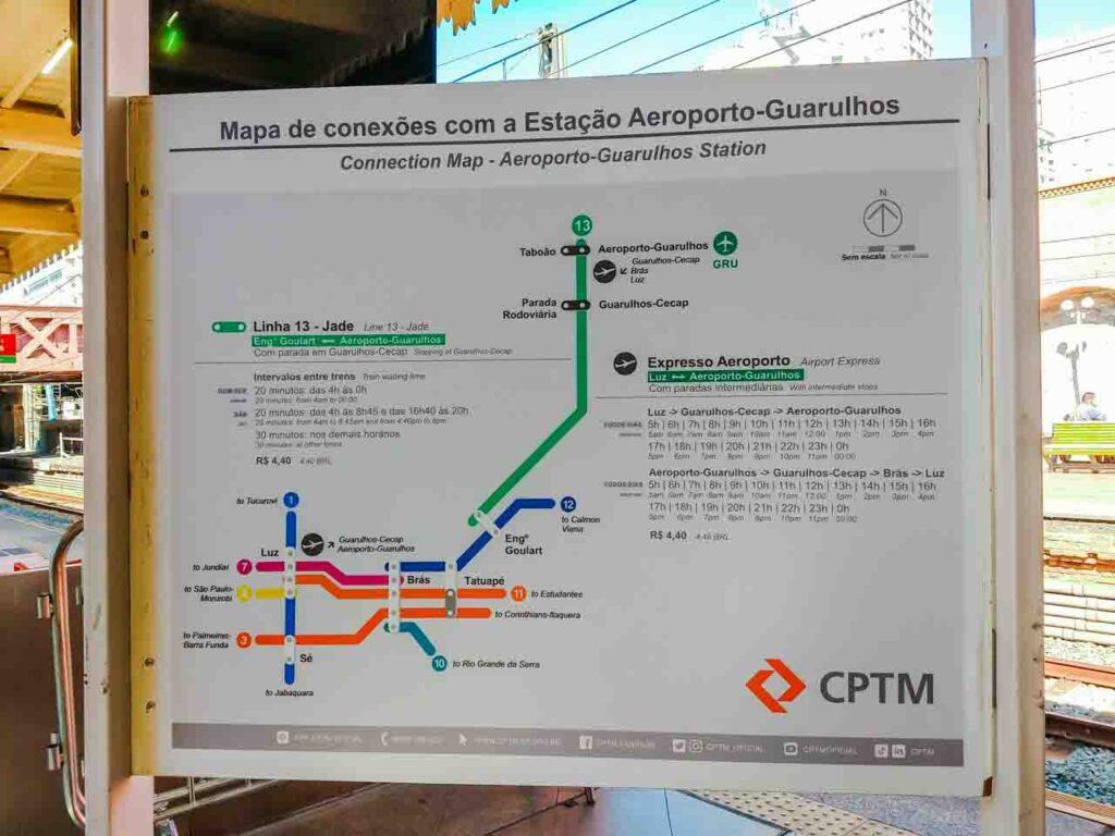 Estação da Luz e o mapa com horários dos trens do Expresso Aeroporto de Guarulhos - Trem da CPTM - Luz-Guarulhos em São Paulo