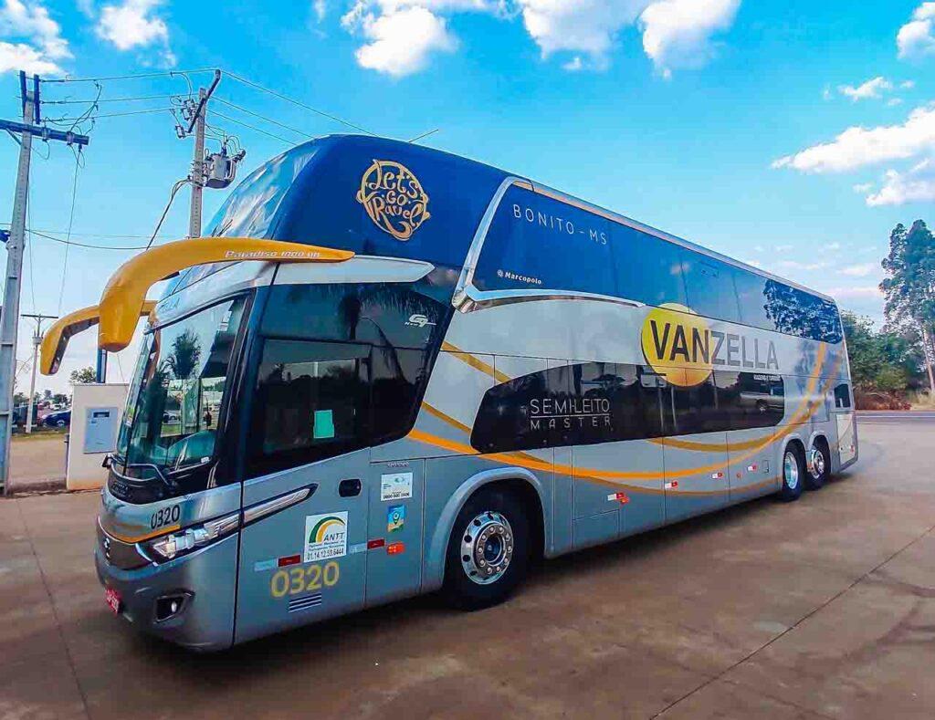 ônibus para Bonito - o transfer Vanzella que sai do aeroporto de Campo Grande até Bonito, no Mato Grosso do Sul
