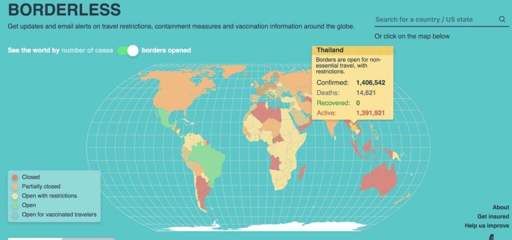SafetyWing - mapa global com atualizações da covid-19 e pandemia coronavírus